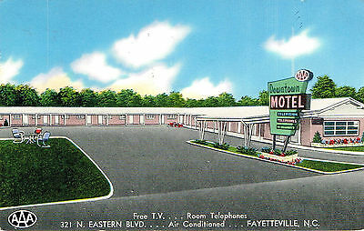 Vintage Downtown Motel Postcard Fayetteville North Carolina 1958 Postmark