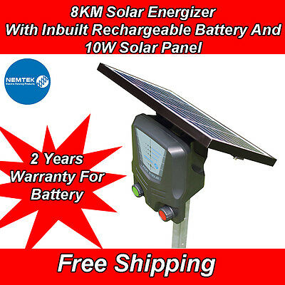 New Nemtek 8KM Solar Panel Energizer Energiser Rechargeable Electric Fence