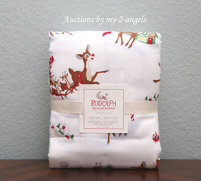 Pottery Barn Kids Holiday RUDOLPH THE RED-NOSED REINDEER Flannel Queen Sheet Set