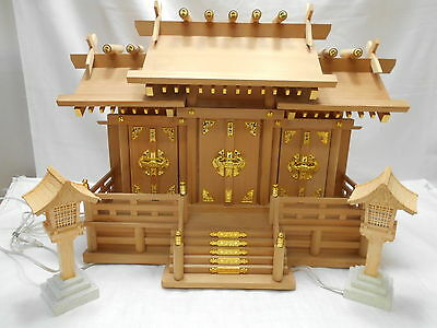 Wooden Buddhist Shinto Shrine Household Altar Large ELECTRICAL LAMPS Japanese #6