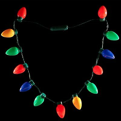 LED Light Up Christmas Bulb Necklace Party Favors for Adults or Kids Holiday NEW