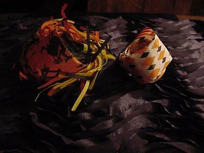Vintage HALLOWEEN Lot of 2 Party Paper BLOWOUT HORNS: 1 Fringed w/Feather