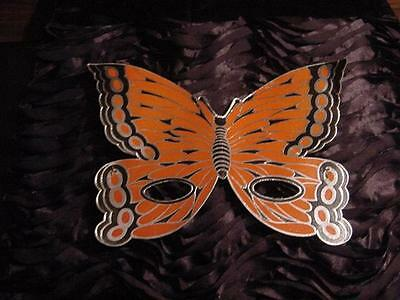 Vintage HALLOWEEN Unused Orange Black Foil BUTTERFLY Paper MASK