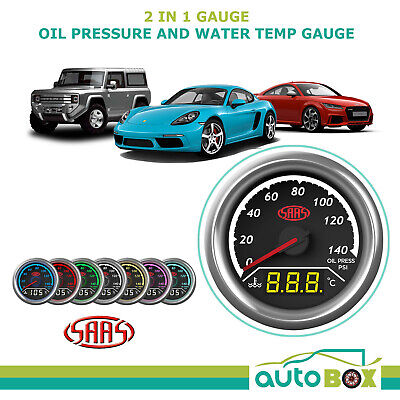 SAAS 2 in 1 Oil Pressure and Water Temp 52mm Gauge Set Warning Level
