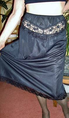 Shapely Figures BLACK Ultra Sheer Silky Double Laced Half Slip Petticoat L-XL
