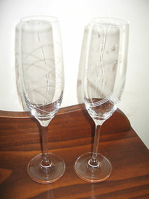 Pair Royal Doulton Crystal Champagne Flutes / Glasses Excon