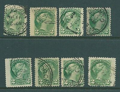 Queen Victoria collection of stamps from CANADA - Unchecked 2c Green