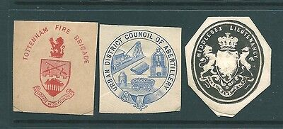 Antique ENVELOPE SEAL cut-outs - Municipal Organisations (a)