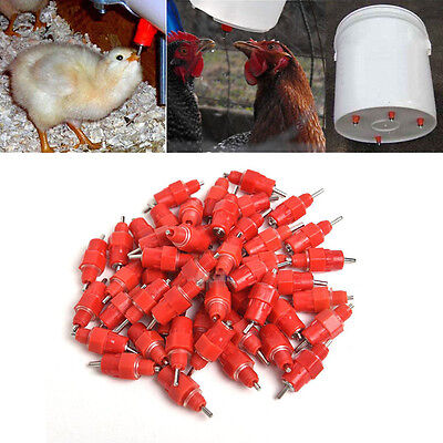 10Pcs Water Nipple Drinker Chicken Feeder Poultry Duck Hen Screw In Style