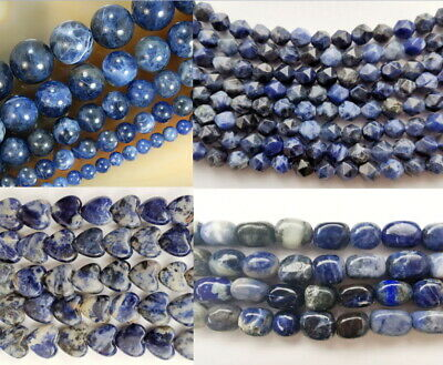 UKcheapest-Sodalite round 4 6 8 10 12 14 16mm  gemstone beads blue white