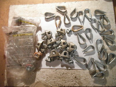 Lot Of (24) Wire Cable Thinbles & (15) Cable Clamps -New &  Used