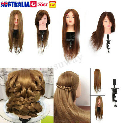 Real Human Hair Practice Hairdressing Training Head Mannequin Doll + Clamp AU