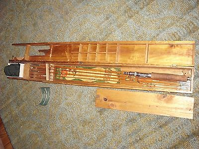 Vintage WW2 Japan Fresh Water Fishing Set w/ Wood Box 8' Olympic Pole KIT