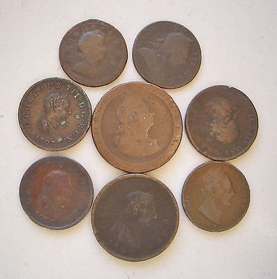 UK,  Eight old copper coins, 1724 - 1834