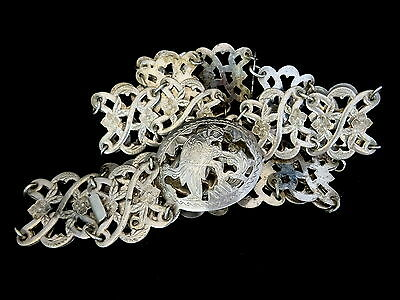 Vtg 1930s Indonesia Solid Silver Belt Borneo Hallmarked Iban Belt Bird Buckle