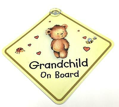 Grandchild On Board Yellow Suction Safety Fun Car Display Window Badge Sign
