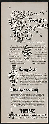 1950s advert for HEINZ food pickled onions picnic hints advertising 1955