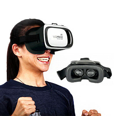 VR Max Virtual Reality Headset 3D Goggles w/ Remote Movies Streaming Games iOS