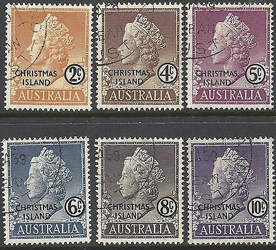 Christmas Island 1958 QUEEN ELIZABETH FIRST SET 1c to 10c (6), FINE USED, SG 1-6