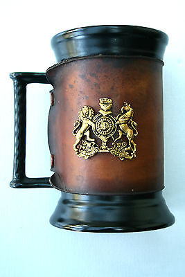 SylvaC Black Rope Handled Tankard With Crest And Hide Surround