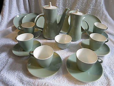 1960's Poole Pottery Celadon Tea / Coffee  Set Cups Saucers Pot Tea Plates