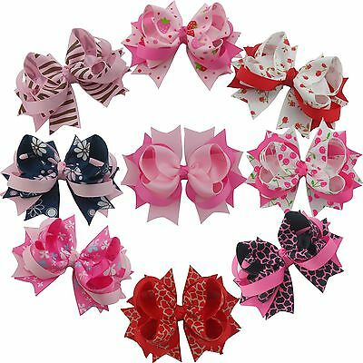 4inch 9PCS Baby Girls boutique barrettes Ribbon Hair Bows Clip solid 37styles
