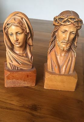 "Vintage Jesus + Mary Wooden Figures. 6"" Tall"