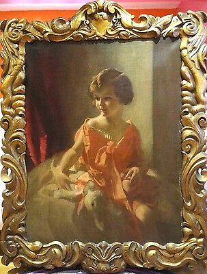 Fine Large 1927 English Girl Portrait of Nancy & Bunny Antique Oil Painting