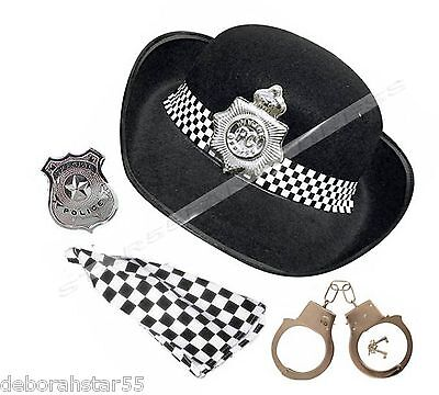 Police Woman Costume Hat  Scarf Badge Cuffs Womens Police Fancy Dress Costume
