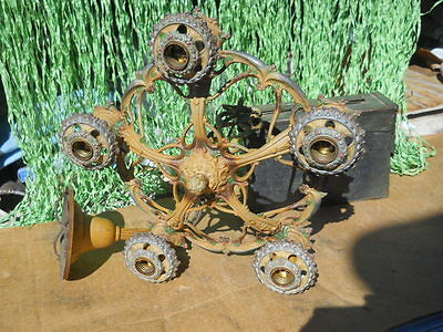 Vintage Antique Ceiling Light Lamp Fixture Chandelier  Cast Metal To refurbish