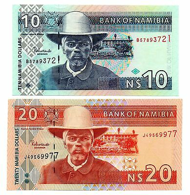 NAMIBIA 10 and 20 Dollars  - A Set of 2 Crisp UNC Banknotes