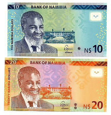 NAMIBIA 10 and 20 Dollars [2015] - A Set of 2 Crisp UNC Banknotes