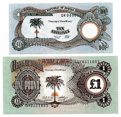 BIAFRA 10 Shillings and  £1 One Pound -  2 Crisp UNC Banknotes - RARE