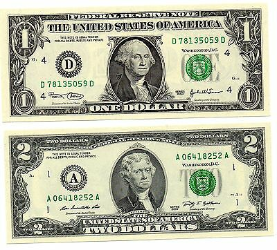 AMERICA USA 1 and 2 Dollars  -  Set of 2 Crisp UNC Banknotes