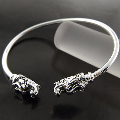 Fsa690 Genuine Real 925 Sterling Silver Sf Solid Dragon Style Bangle Bracelet