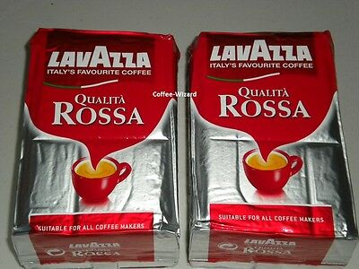 LAVAZZA QUALITA ROSSA GROUND COFFEE 1 Kg MEDIUM FULL BODIED 2x 500g