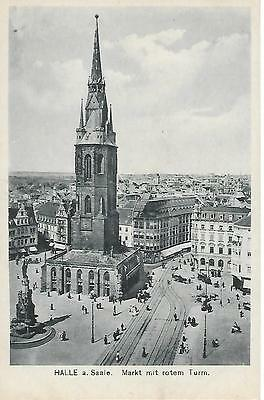 Halle - Market & Red Tower- Unposted postcard