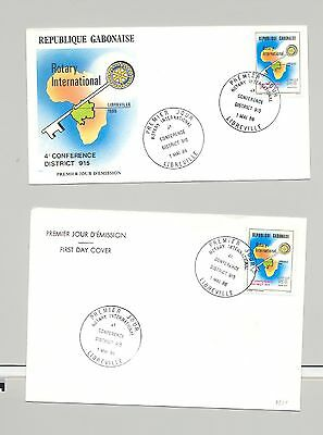 Gabon 1986 Maps, Rotary 1v on 2 Different Cacheted FDC