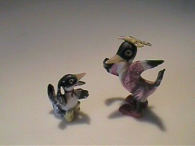 Two Vintage 1960's Miniature Bone China Character Crows