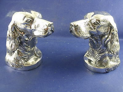 Pr Antique Silver Plate Golden Retriever Book Ends