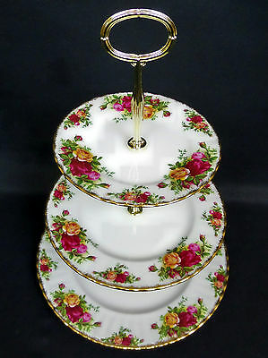 OLD COUNTRY ROSES 3-TIER CAKE STAND, 1st QLTY, VGC, 1962-73 ENGLAND ROYAL ALBERT