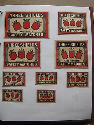 9 Old Swedish Three Shields Matchbox Labels.
