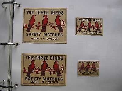 4 Old Swedish Three Birds Matchbox Labels.