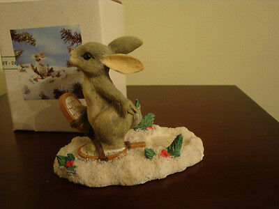 Charming Tails Silvestri BUNNY SNOW SHOEING FIGURINE