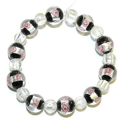 """G4261 Black w Silver & Pink Flower 12mm & Clear 8mm Round Lampwork Glass Bead 7"""""""