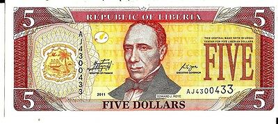 Leberia 2011 5  Dollars Currency Unc