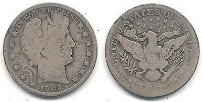 1905-S Silver Barber Half Dollar (50¢ Coin) in Good Condition ~