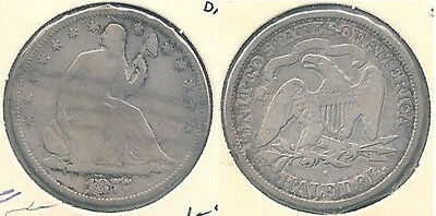 1877-S Seated Liberty Silver Half Dollar in Very Good Condition