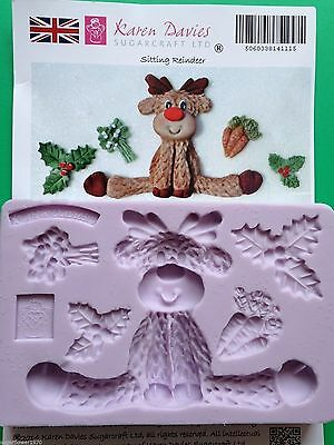Karen Davies Sitting Reindeer holly & mistletoe Christmas Cake Sugarcraft Mould