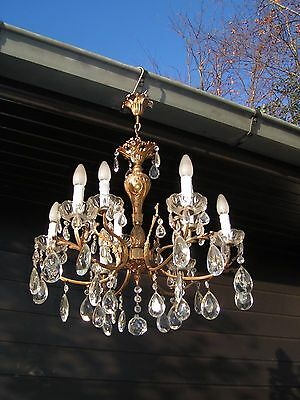 ** Superb & vintage French 9 light nice ornated chandelier with shining drops !
